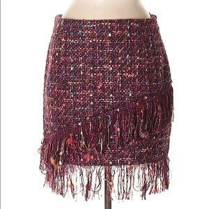 Zara NWT Tweed Fringed Skirt